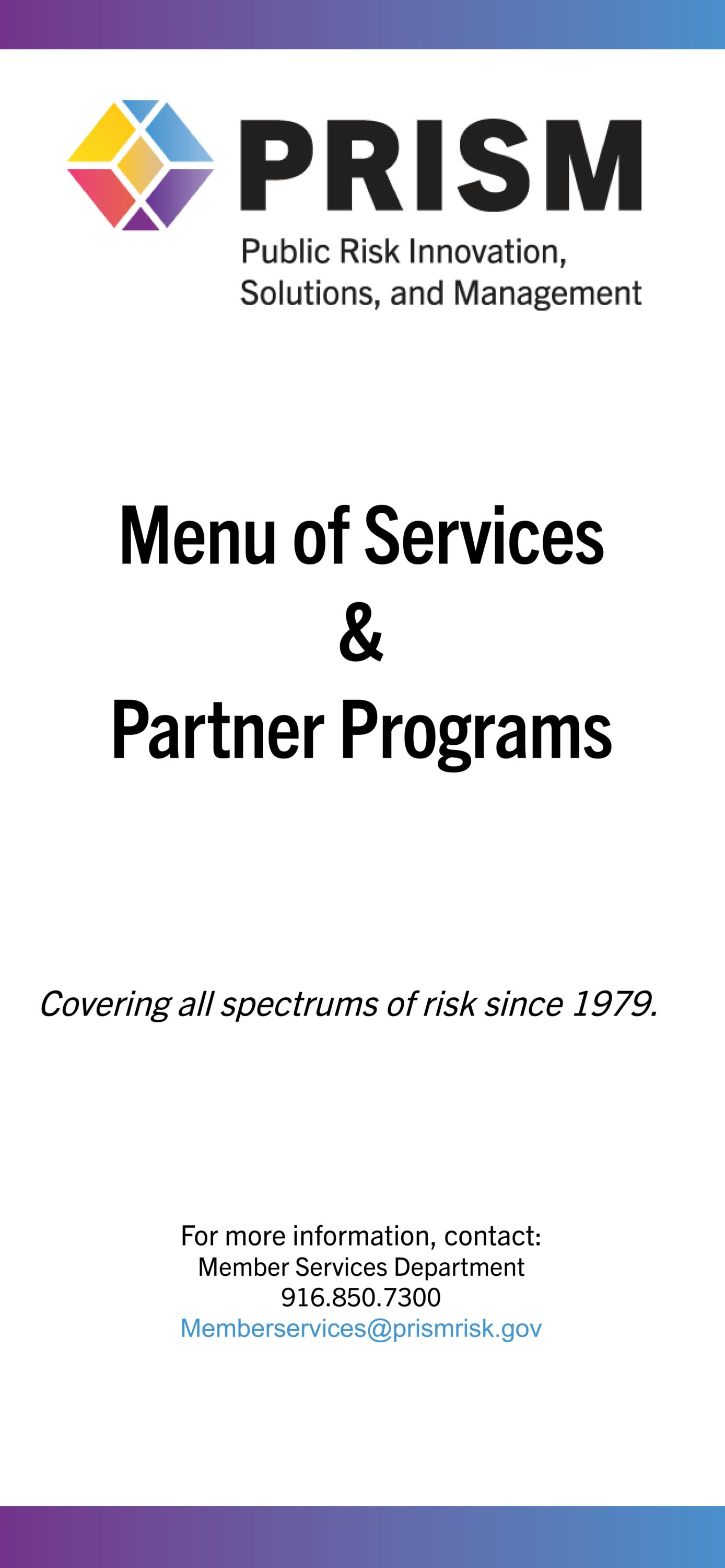PRISM Menu of Services